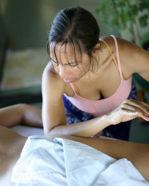Jody Mountain doing Lomi Lomi massage