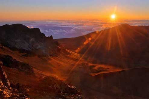 Sunrise over Haleakala volcano on Maui